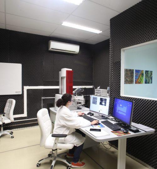 Foto do FEG-SEM com nanolitografia do Laboratório de imageamento em micro-nanoeletrônica do CTI-Nano